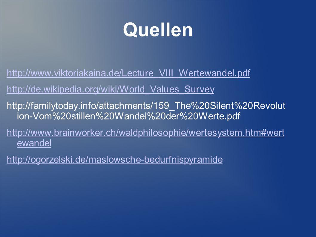 Quellen http://www.viktoriakaina.de/Lecture_VIII_Wertewandel.pdf