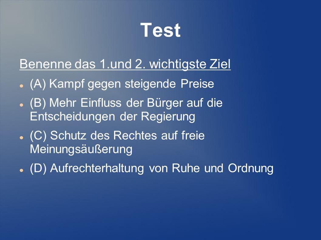 Test Benenne das 1.und 2. wichtigste Ziel