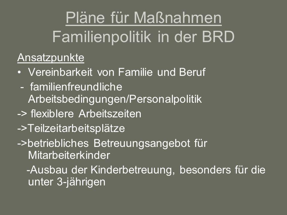 Pläne für Maßnahmen Familienpolitik in der BRD
