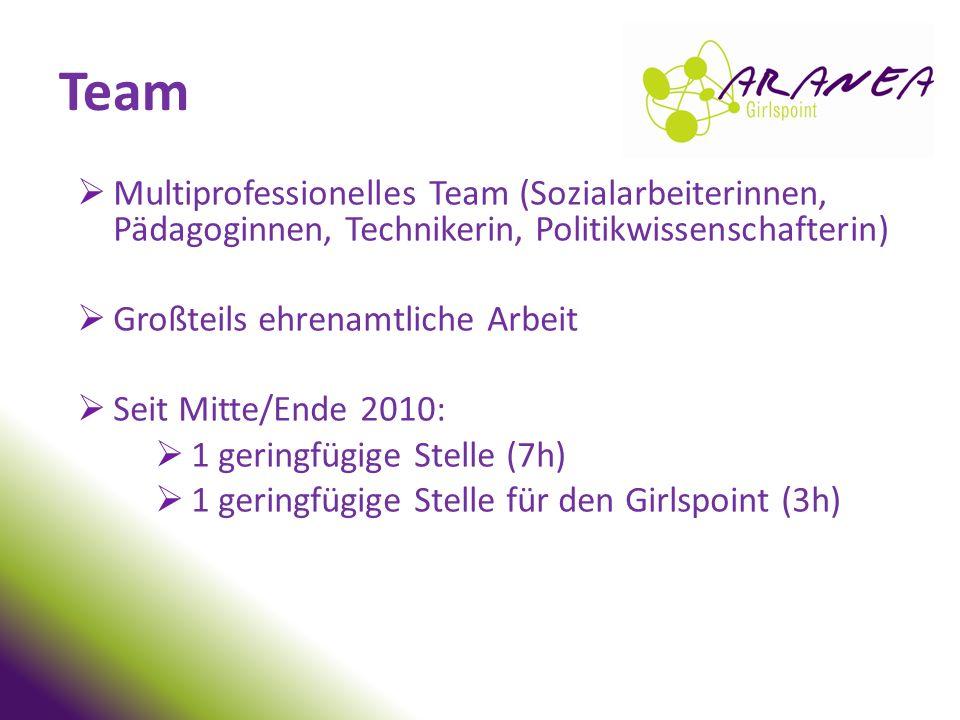 Team Multiprofessionelles Team (Sozialarbeiterinnen, Pädagoginnen, Technikerin, Politikwissenschafterin)