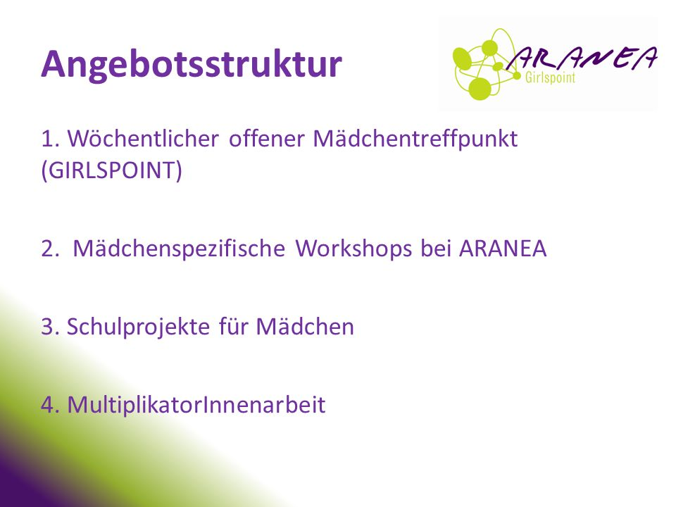 Angebotsstruktur 1. Wöchentlicher offener Mädchentreffpunkt (GIRLSPOINT) 2. Mädchenspezifische Workshops bei ARANEA.