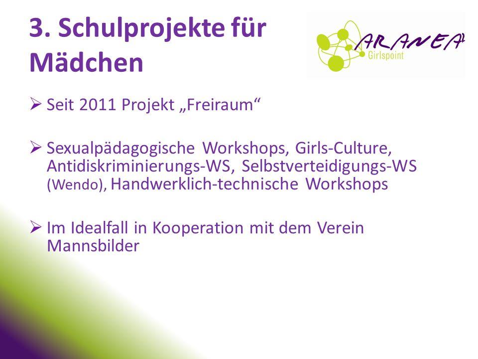 """3. Schulprojekte für Mädchen Seit 2011 Projekt """"Freiraum"""