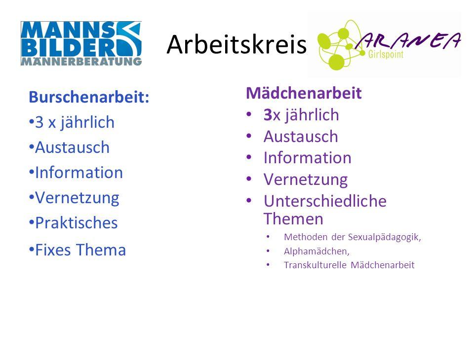 Arbeitskreis Burschenarbeit: 3 x jährlich Austausch Information
