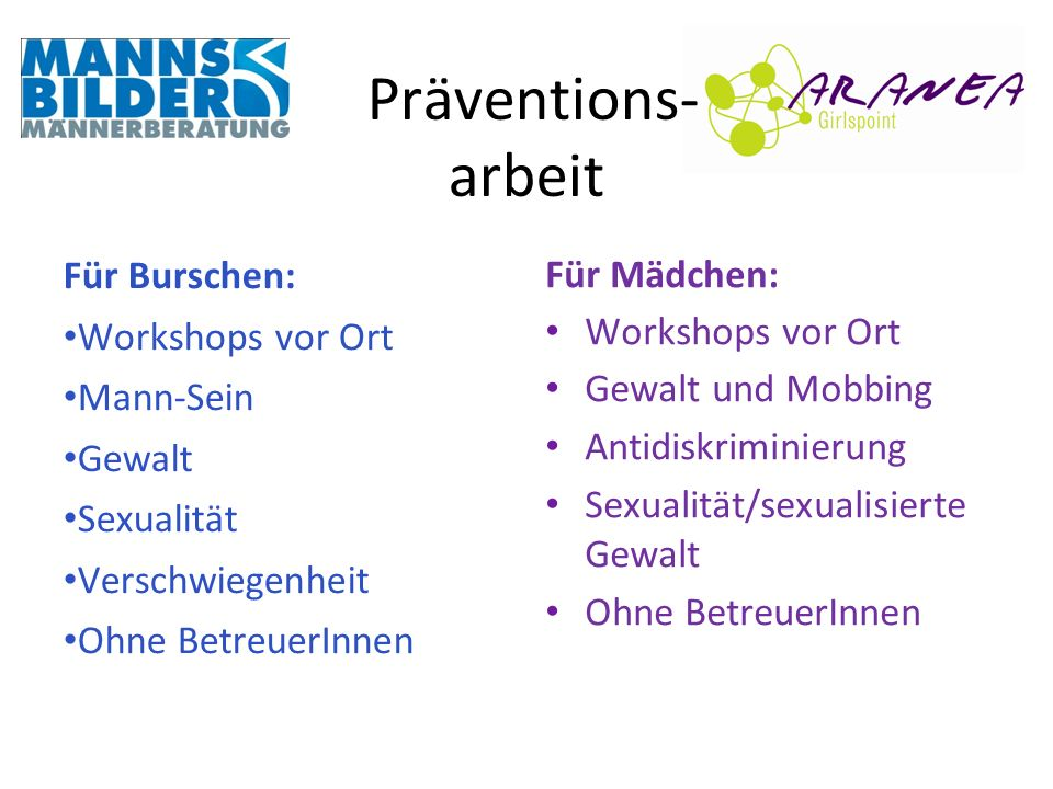 Präventions- arbeit Für Burschen: Für Mädchen: Workshops vor Ort