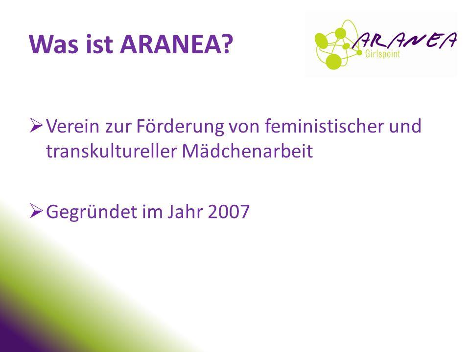 Was ist ARANEA Verein zur Förderung von feministischer und transkultureller Mädchenarbeit. Gegründet im Jahr 2007.