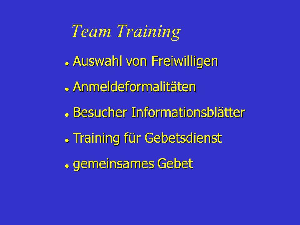 Team Training Auswahl von Freiwilligen Anmeldeformalitäten
