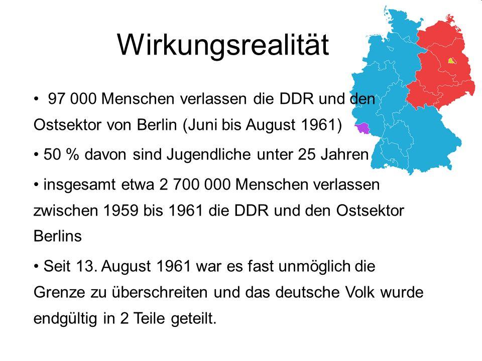 Wirkungsrealität 97 000 Menschen verlassen die DDR und den Ostsektor von Berlin (Juni bis August 1961)