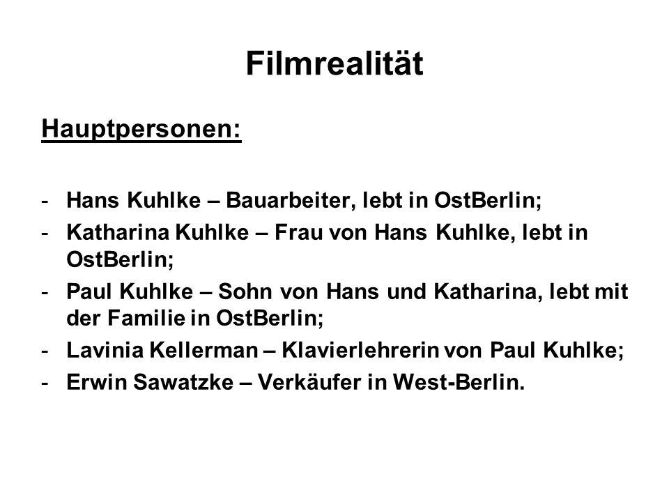 Filmrealität Hauptpersonen: