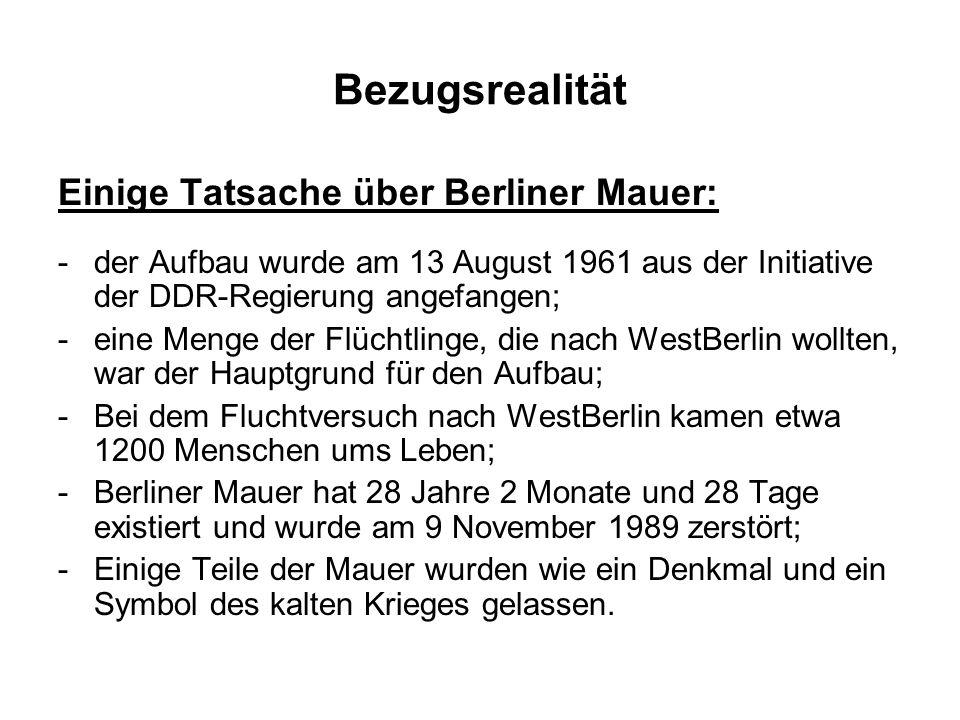 Bezugsrealität Einige Tatsache über Berliner Mauer: