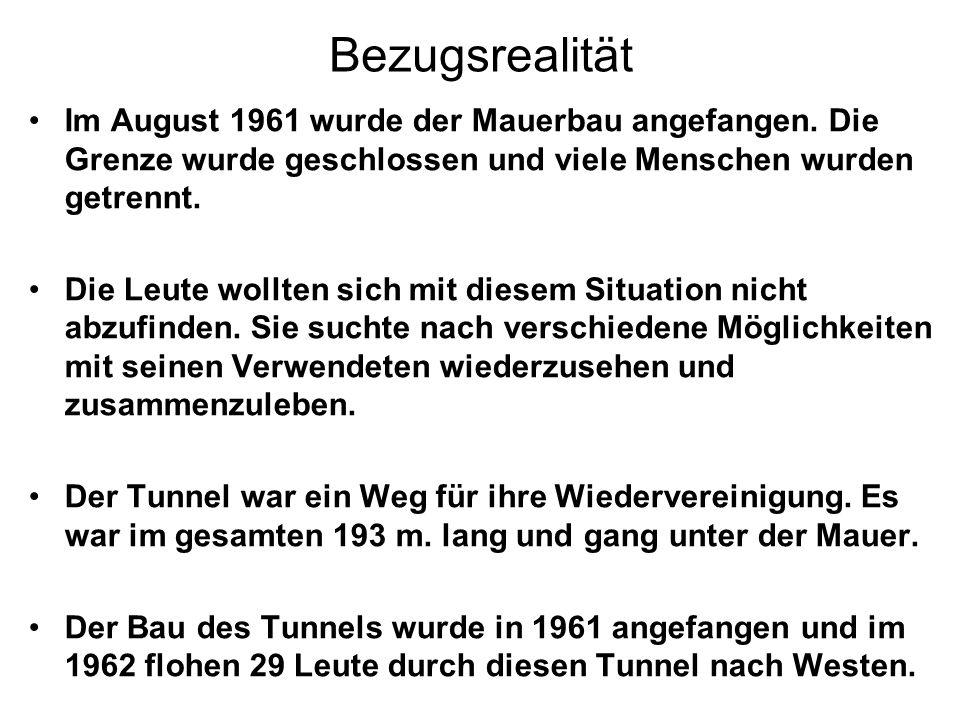 Bezugsrealität Im August 1961 wurde der Mauerbau angefangen. Die Grenze wurde geschlossen und viele Menschen wurden getrennt.