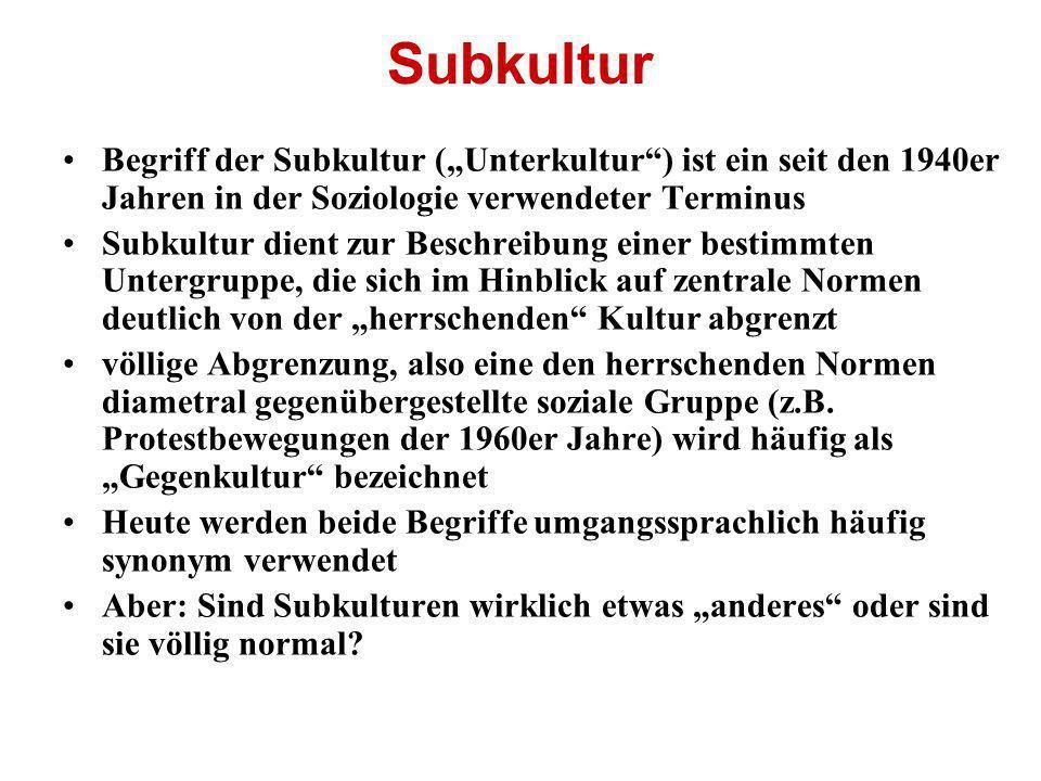 """Subkultur Begriff der Subkultur (""""Unterkultur ) ist ein seit den 1940er Jahren in der Soziologie verwendeter Terminus."""