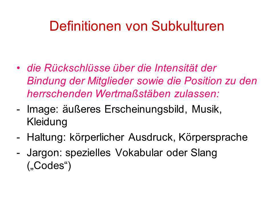 Definitionen von Subkulturen