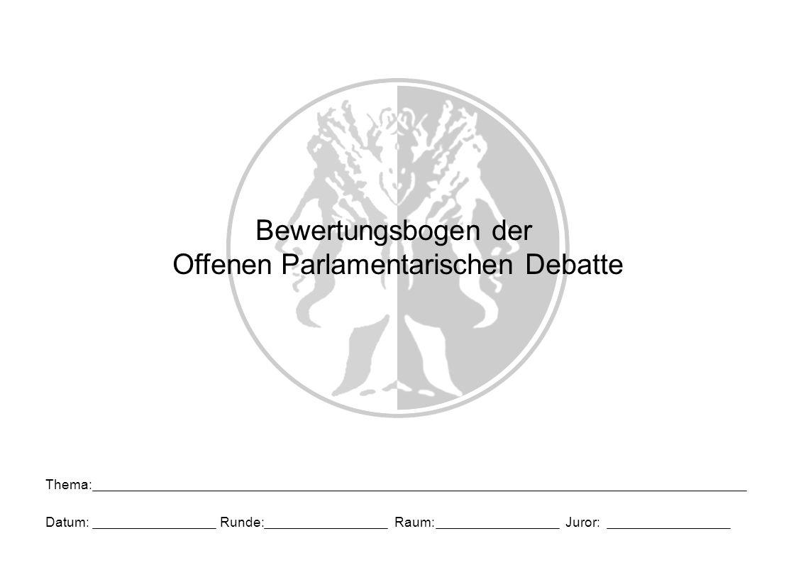Bewertungsbogen der Offenen Parlamentarischen Debatte