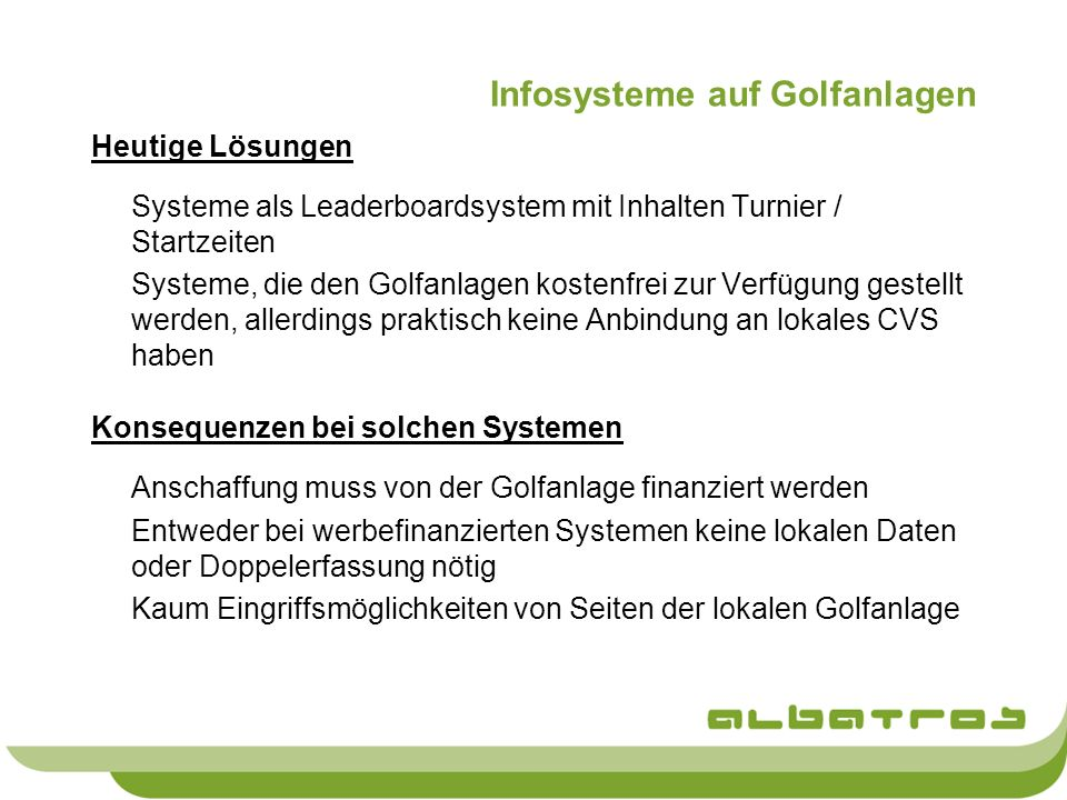 Infosysteme auf Golfanlagen