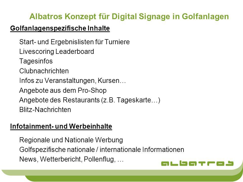Albatros Konzept für Digital Signage in Golfanlagen