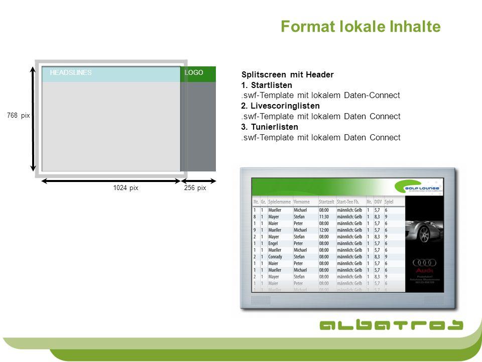 Format lokale Inhalte Splitscreen mit Header 1. Startlisten