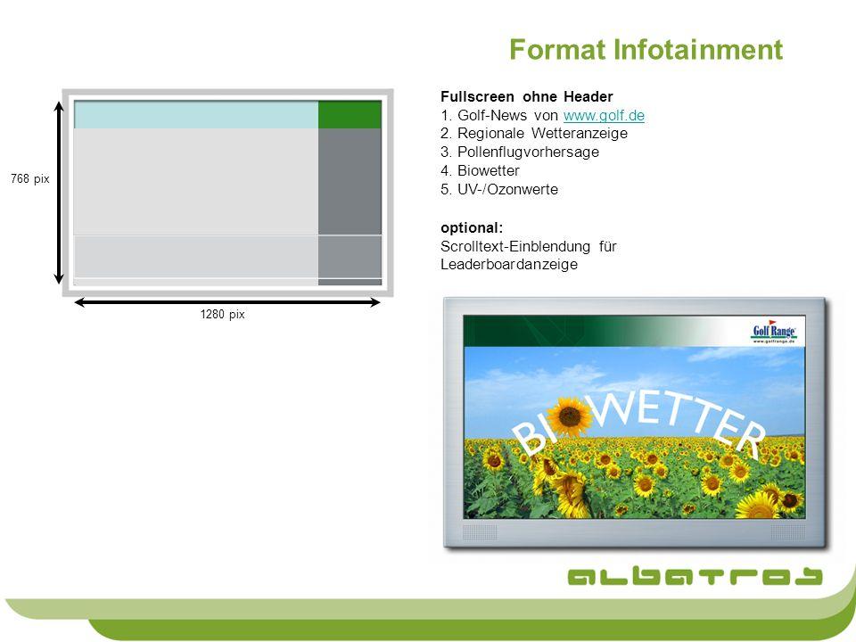 Format Infotainment Fullscreen ohne Header