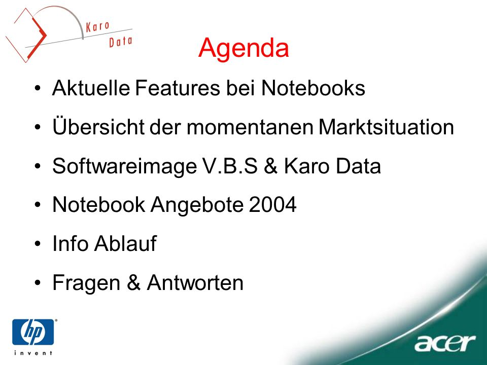 Agenda Aktuelle Features bei Notebooks