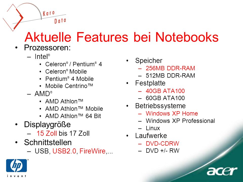 Aktuelle Features bei Notebooks