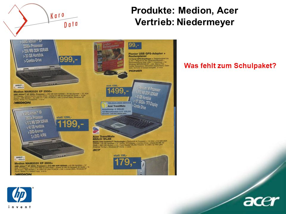 Produkte: Medion, Acer Vertrieb: Niedermeyer