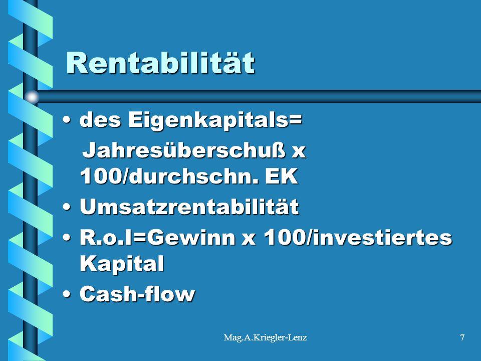 Rentabilität des Eigenkapitals= Jahresüberschuß x 100/durchschn. EK