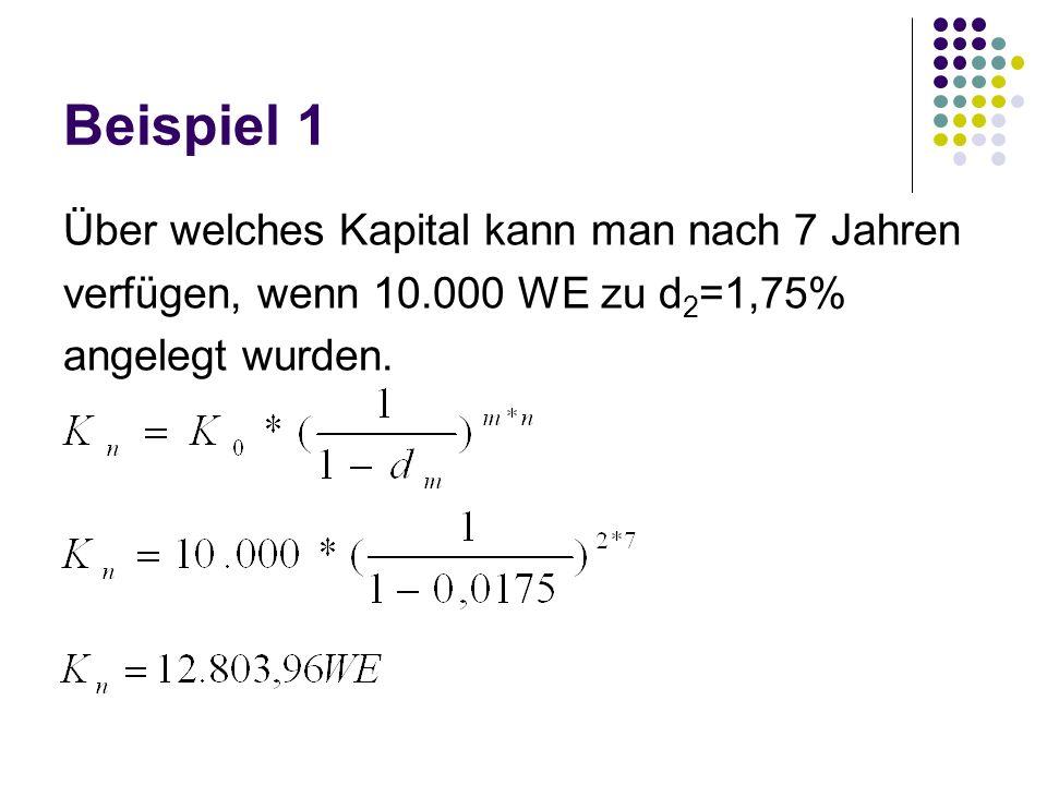 Beispiel 1 Über welches Kapital kann man nach 7 Jahren