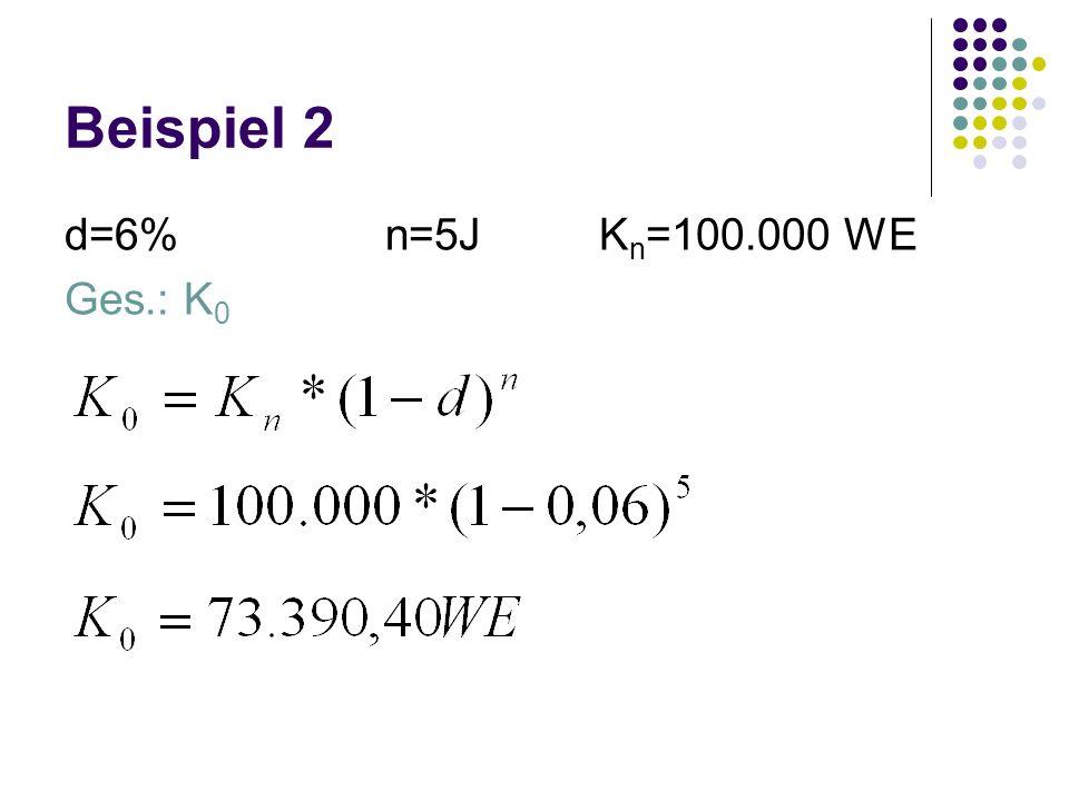 Beispiel 2 d=6% n=5J Kn=100.000 WE Ges.: K0