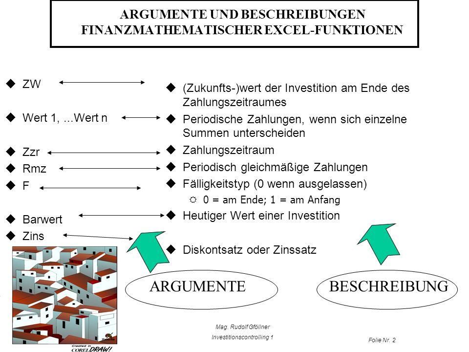ARGUMENTE UND BESCHREIBUNGEN FINANZMATHEMATISCHER EXCEL-FUNKTIONEN