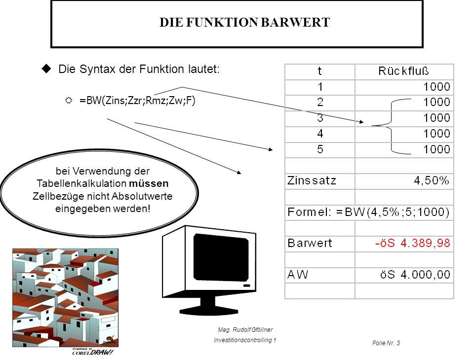 DIE FUNKTION BARWERT Die Syntax der Funktion lautet: