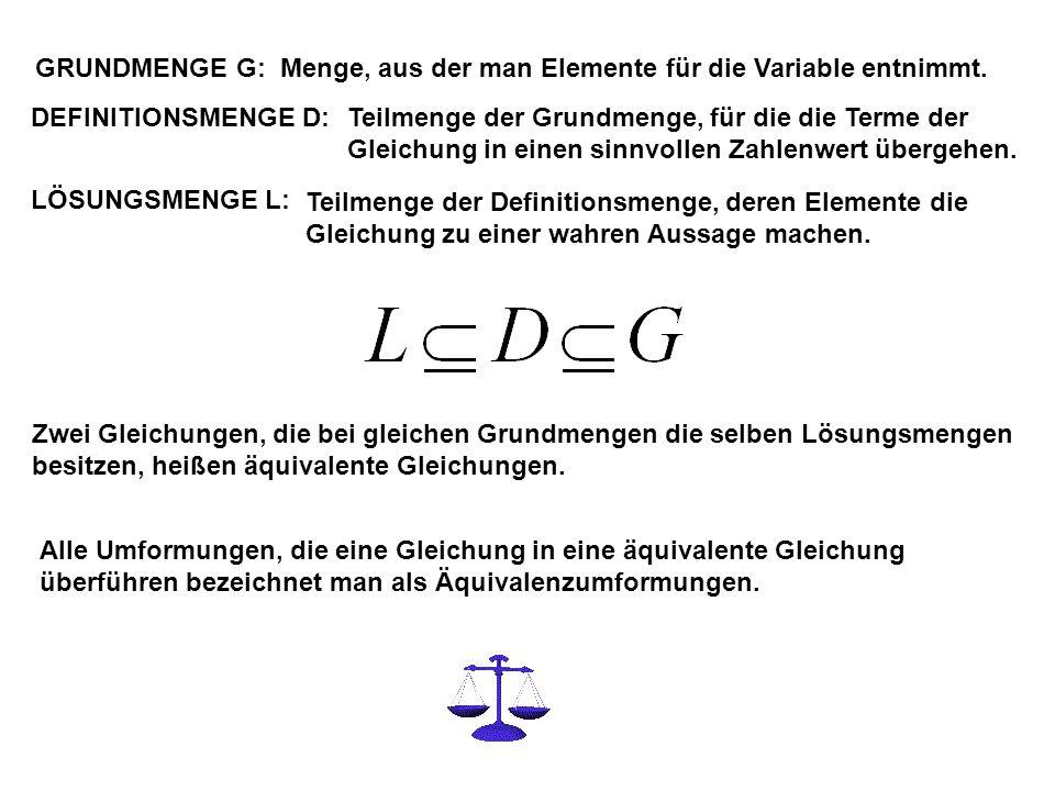 GRUNDMENGE G: Menge, aus der man Elemente für die Variable entnimmt. DEFINITIONSMENGE D: