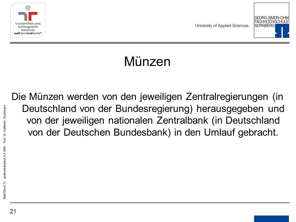 Notizen Gedruckt/printed. Münzen.
