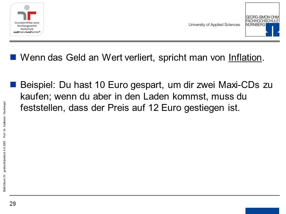 Wenn das Geld an Wert verliert, spricht man von Inflation.