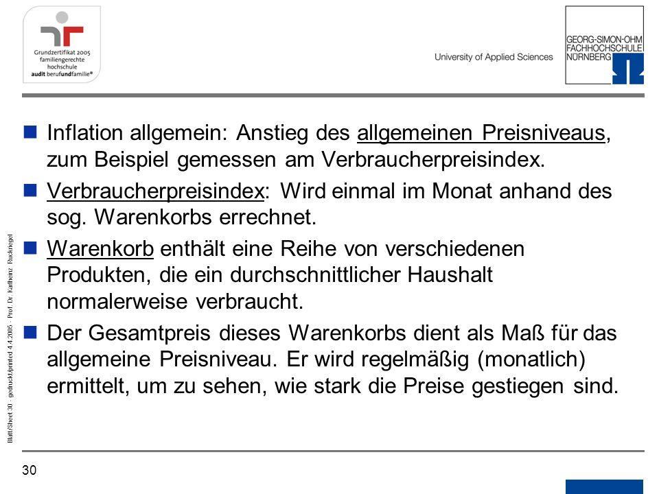 Notizen Gedruckt/printed. Inflation allgemein: Anstieg des allgemeinen Preisniveaus, zum Beispiel gemessen am Verbraucherpreisindex.