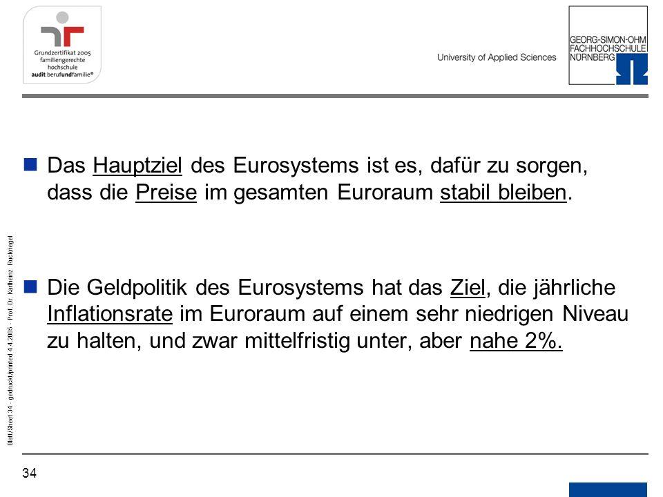 Notizen Gedruckt/printed. Das Hauptziel des Eurosystems ist es, dafür zu sorgen, dass die Preise im gesamten Euroraum stabil bleiben.