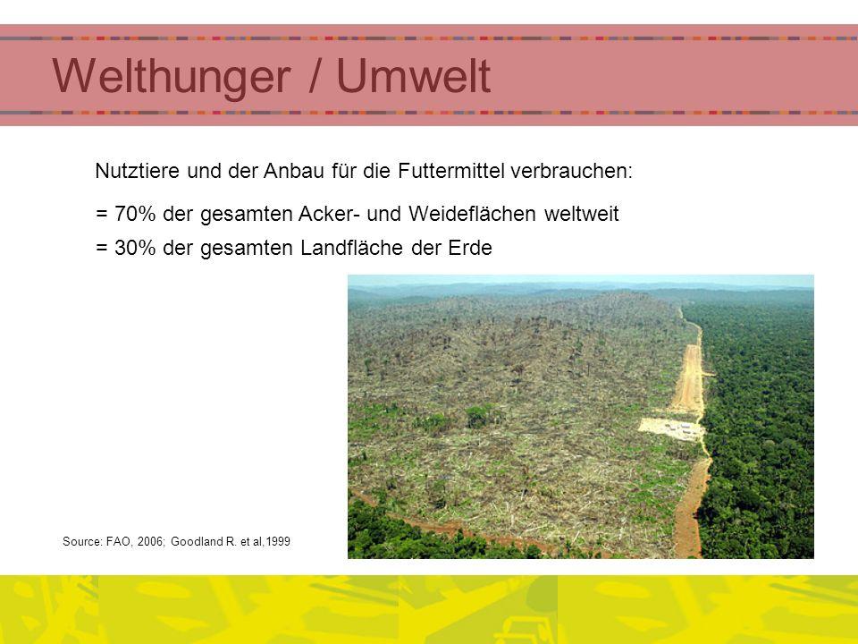 Welthunger / Umwelt Nutztiere und der Anbau für die Futtermittel verbrauchen: = 70% der gesamten Acker- und Weideflächen weltweit.