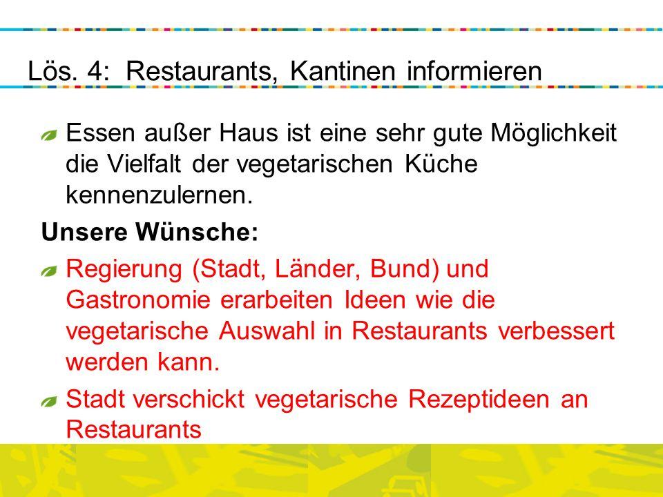 Lös. 4: Restaurants, Kantinen informieren