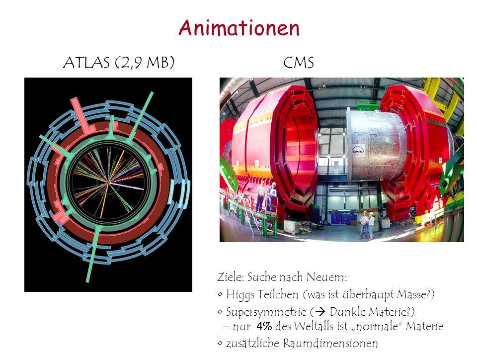 Animationen ATLAS (2,9 MB) CMS Ziele: Suche nach Neuem: