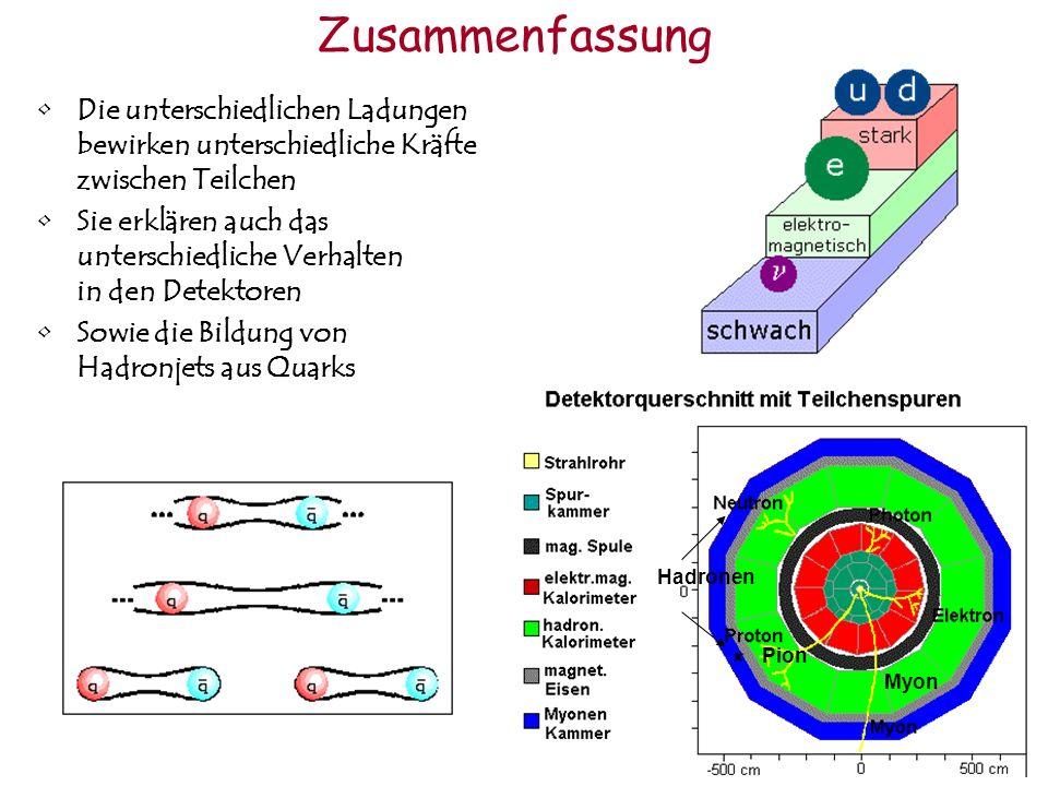 Zusammenfassung Die unterschiedlichen Ladungen bewirken unterschiedliche Kräfte zwischen Teilchen.