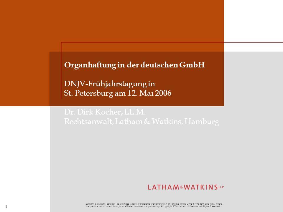 Organhaftung in der deutschen GmbH DNJV-Frühjahrstagung in St