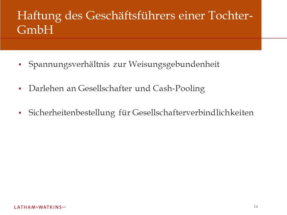 Haftung des Geschäftsführers einer Tochter-GmbH