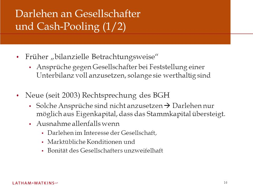 Darlehen an Gesellschafter und Cash-Pooling (1/2)