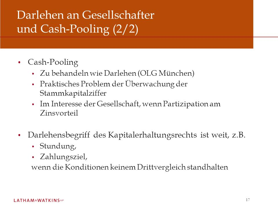 Darlehen an Gesellschafter und Cash-Pooling (2/2)