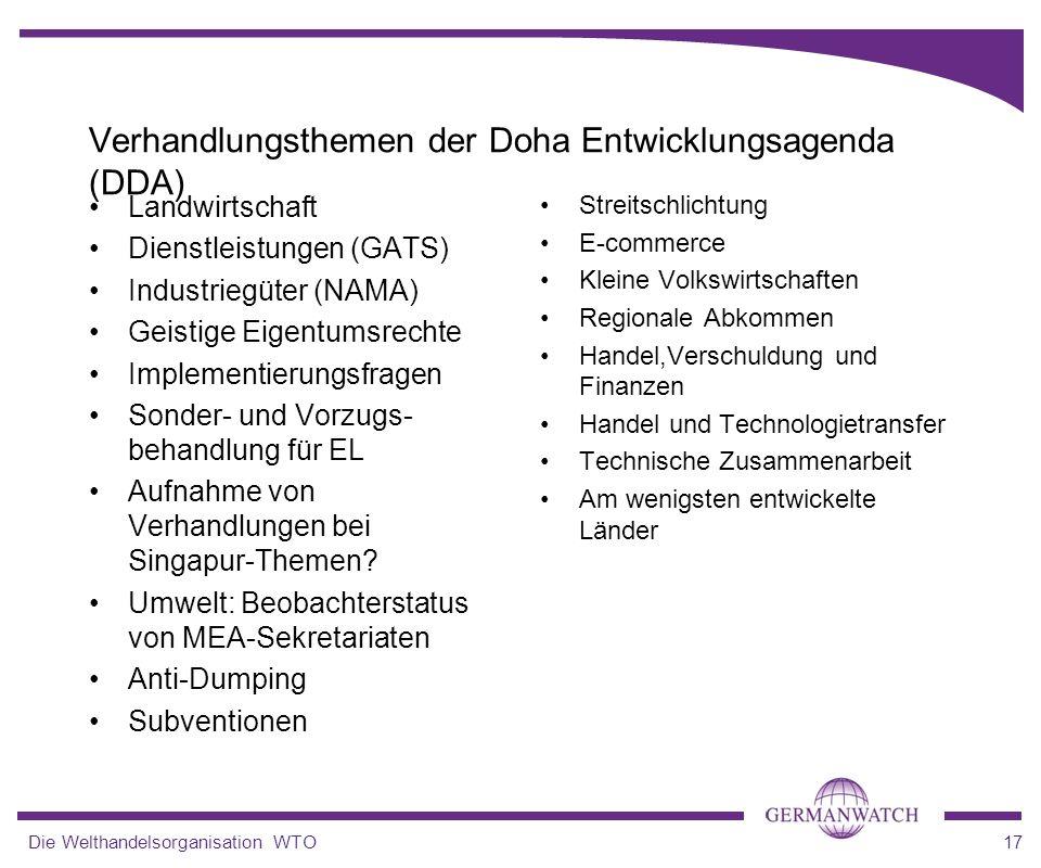 Verhandlungsthemen der Doha Entwicklungsagenda (DDA)