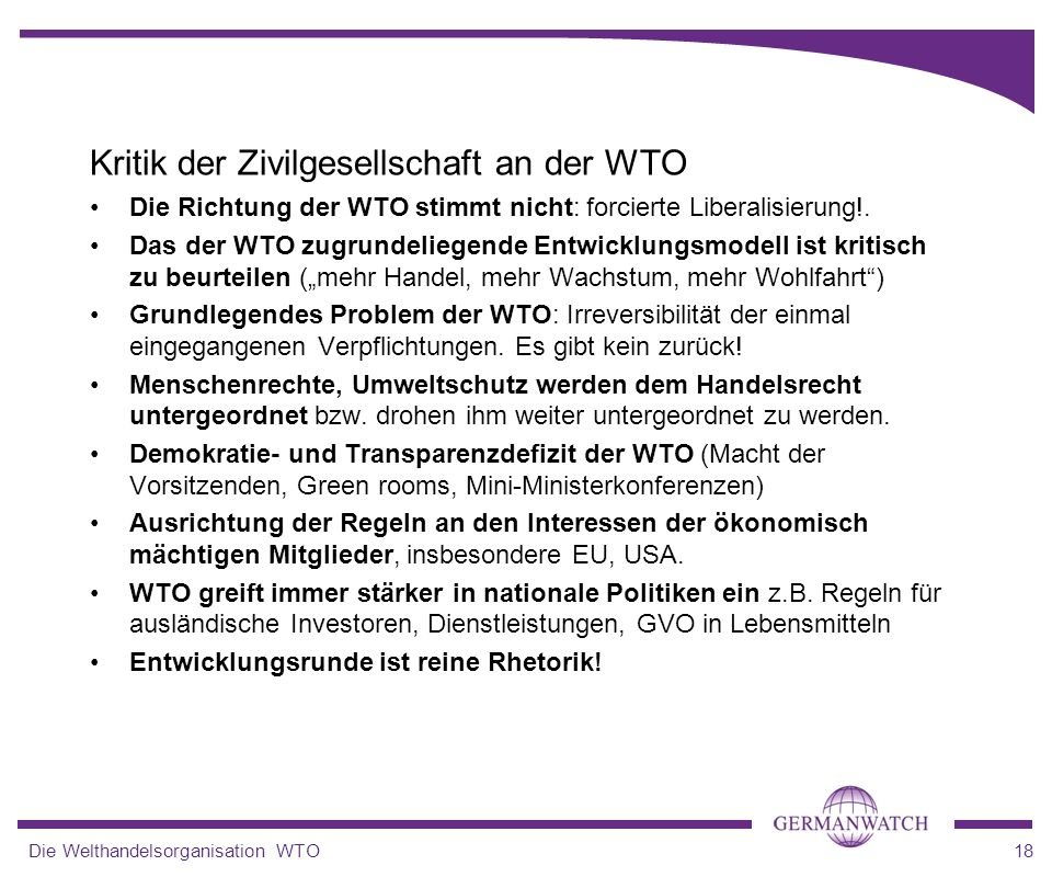 Kritik der Zivilgesellschaft an der WTO