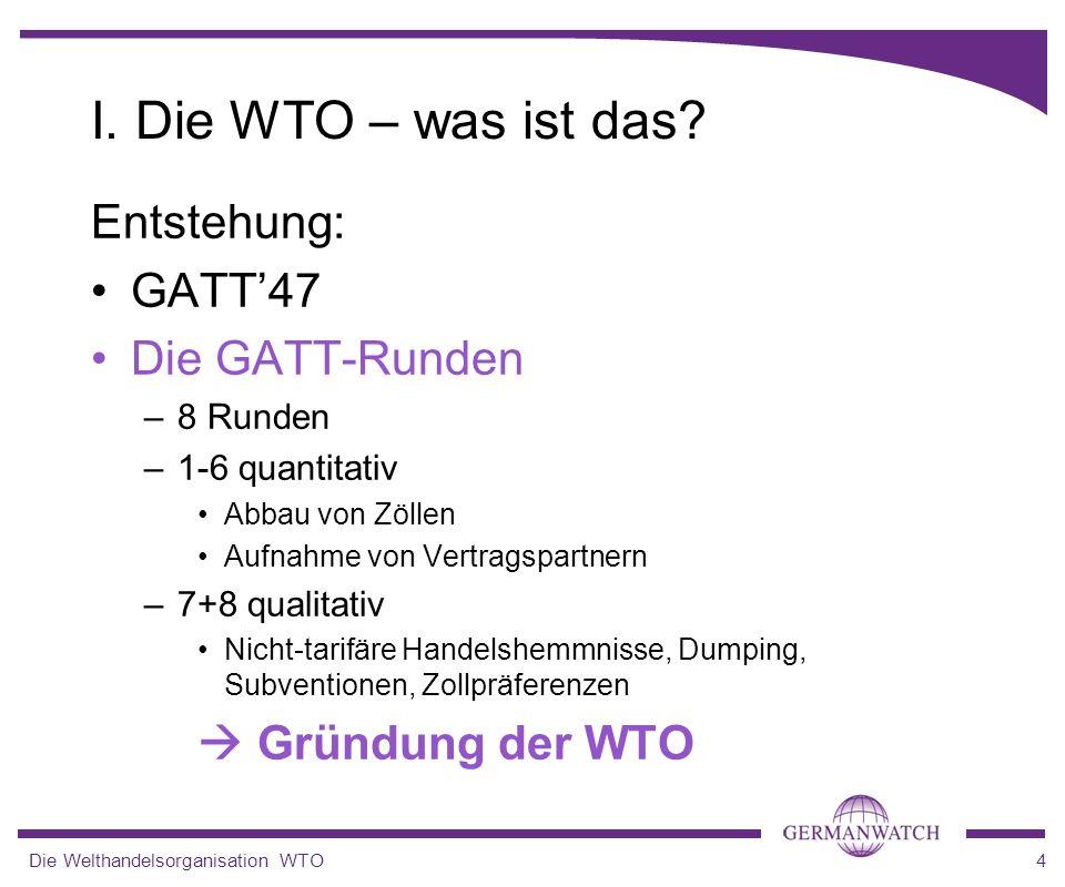 I. Die WTO – was ist das Entstehung: GATT'47 Die GATT-Runden