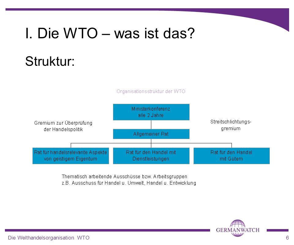 I. Die WTO – was ist das Struktur: Die Welthandelsorganisation WTO