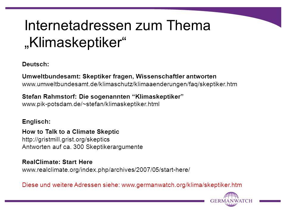 """Internetadressen zum Thema """"Klimaskeptiker"""