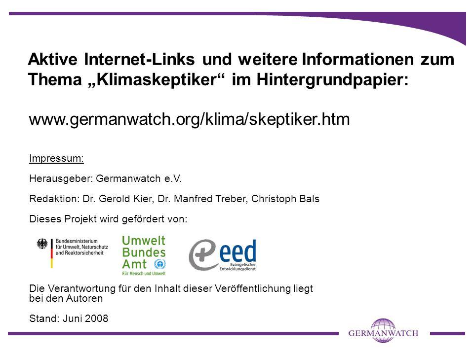 """Aktive Internet-Links und weitere Informationen zum Thema """"Klimaskeptiker im Hintergrundpapier:"""