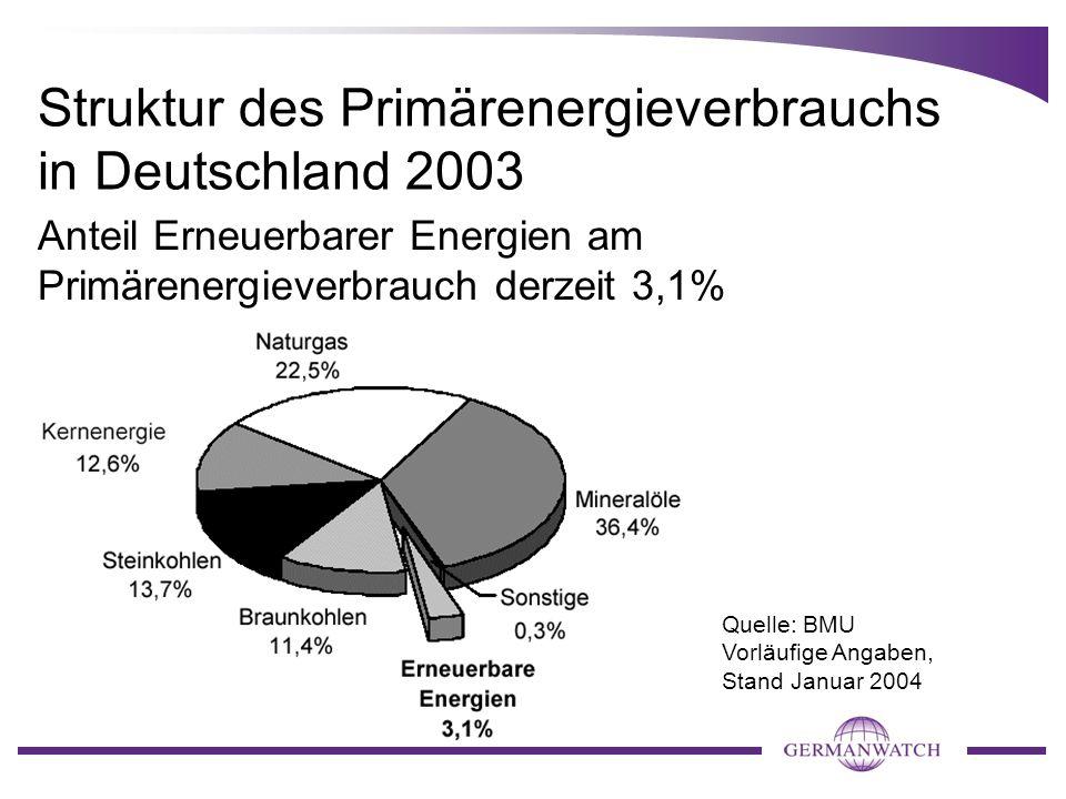 Struktur des Primärenergieverbrauchs in Deutschland 2003