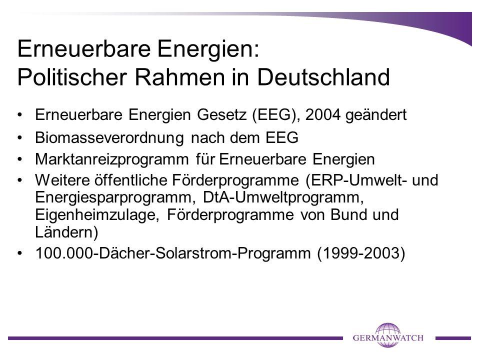 Erneuerbare Energien: Politischer Rahmen in Deutschland